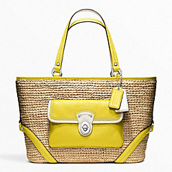 COACH STRAW POCKET TOTE - SILVER/NATURAL/LIME - F22904
