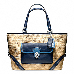 STRAW POCKET TOTE - f22904 - SILVER/NATURAL/NAVY