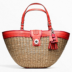 COACH STRAW EDITORIAL XL TOTE - SILVER/NATURAL/TANGERINE - F22905
