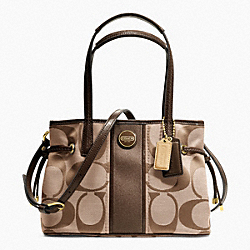COACH SIGNATURE STRIPE MINI CARRYALL - ONE COLOR - F22907