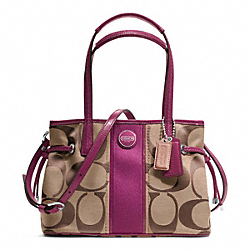 COACH SIGNATURE STRIPE MINI CARRYALL - SILVER/KHAKI/PASSION BERRY - F22907