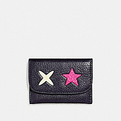 COACH CARD POUCH WITH GLITTER STAR - MULTICOLOR 1/SILVER - F22956