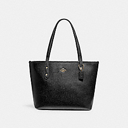 COACH MINI CITY ZIP TOTE - LIGHT GOLD/BLACK - F22967