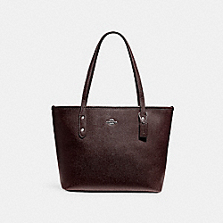 COACH MINI CITY ZIP TOTE - LIGHT GOLD/OXBLOOD 1 - F22967