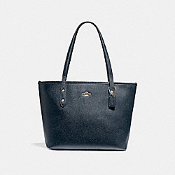 COACH MINI CITY ZIP TOTE - LIGHT GOLD/MIDNIGHT - F22967
