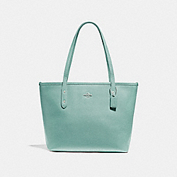 MINI CITY ZIP TOTE - SILVER/AQUAMARINE - COACH F22967