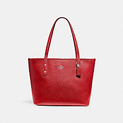COACH MINI CITY ZIP TOTE - SILVER/TRUE RED - F22967