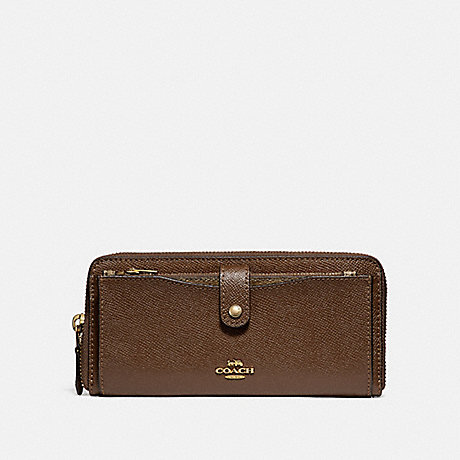 COACH MULTIFUNCTION WALLET - SADDLE 2/LIGHT GOLD - F22997