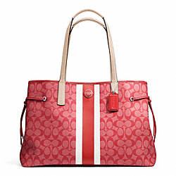COACH SIGNATURE STRIPE PVC LARGE CARRYALL - ONE COLOR - F23049