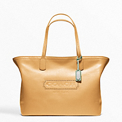 COACH WEEKEND LEATHER ZIP TOP TOTE - SILVER/SAND - F23105