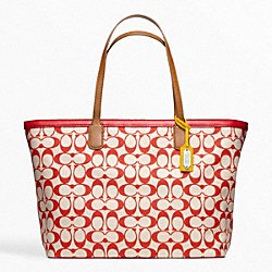 WEEKEND PRINTED SIGNATURE ZIP TOP TOTE - BRASS/KHAKI/NAVY - COACH F23107