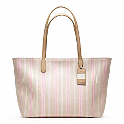 COACH WEEKEND TICKING STRIPE ZIP TOP TOTE - ONE COLOR - F23108