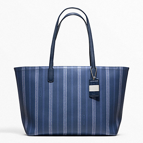 COACH f23108 WEEKEND TICKING STRIPE ZIP TOP TOTE SILVER/NAVY