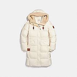 COACH SOLID LONG PUFFER - CREAM - F23182