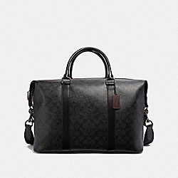 VOYAGER BAG IN SIGNATURE CANVAS - BLACK/BLACK/OXBLOOD/BLACK COPPER FINISH - COACH F23207