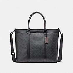 COACH PERRY BUSINESS TOTE - MATTE BLACK/BLACK/BLACK/OXBLOOD - F23211