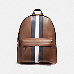 CHARLES BACKPACK WITH VARSITY STRIPE - SADDLE/MIDNIGHT NVY/CHALK/BLACK ANTIQUE NICKEL - COACH F23214