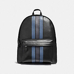 CHARLES BACKPACK WITH VARSITY STRIPE - BLACK/DENIM/MIDNIGHT NVY/BLACK ANTIQUE NICKEL - COACH F23214