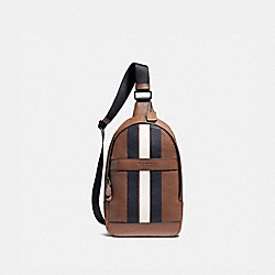 COACH CHARLES PACK WITH VARSITY STRIPE - SADDLE/MIDNIGHT NVY/CHALK/BLACK ANTIQUE NICKEL - F23215