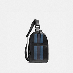 COACH CHARLES PACK WITH VARSITY STRIPE - BLACK/DENIM/MIDNIGHT NVY/BLACK ANTIQUE NICKEL - F23215