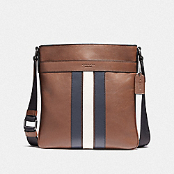 COACH CHARLES CROSSBODY WITH VARSITY STRIPE - SADDLE/MIDNIGHT NVY/CHALK/BLACK ANTIQUE NICKEL - F23216
