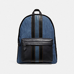COACH CHARLES BACKPACK WITH VARSITY STRIPE - DENIM/BLACK/DENIM/BLACK ANTIQUE NICKEL - F23218
