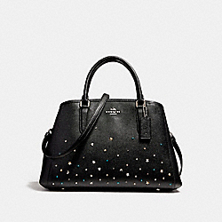 COACH SMALL MARGOT CARRYALL WITH STARDUST STUDS - SILVER/BLACK - F23235