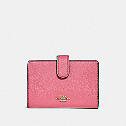 COACH MEDIUM CORNER ZIP WALLET - PEONY/light gold - F23237