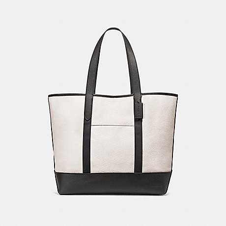 COACH WEST TOTE IN COLORBLOCK - CHALK/BLACK/BLACK ANTIQUE NICKEL - f23248
