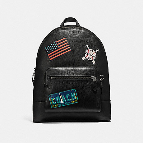 COACH WEST BACKPACK WITH AMERICAN DREAMING PATCHES - ANTIQUE NICKEL/BLACK - f23251