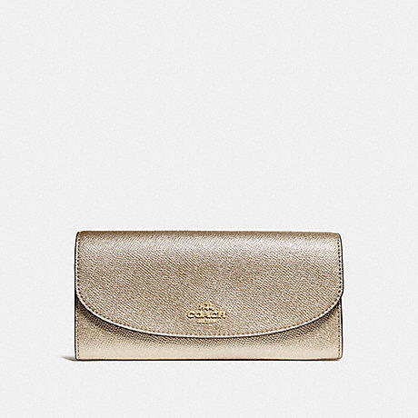 COACH SLIM ENVELOPE WALLET - LIGHT GOLD/PLATINUM - f23255