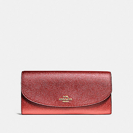 COACH SLIM ENVELOPE WALLET - METALLIC CURRANT/LIGHT GOLD - F23255