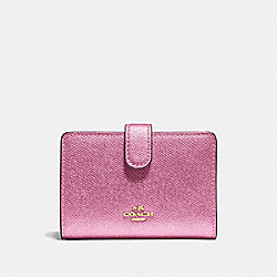 MEDIUM CORNER ZIP WALLET - METALLIC ANTIQUE BLUSH/LIGHT GOLD - COACH F23256