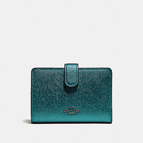 COACH MEDIUM CORNER ZIP WALLET - BLACK ANTIQUE NICKEL/METALLIC DARK TEAL - f23256