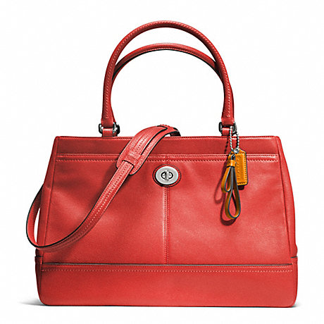 COACH f23268 PARK LEATHER LARGE CARRYALL SILVER/VERMILLION