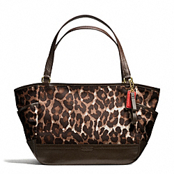COACH PARK OCELOT PRINT CARRIE TOTE - BRASS/MAHOGANY MULTI - F23278