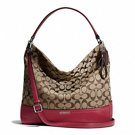 COACH PARK SIGNATURE HOBO - SILVER/KHAKI/BLACK CHERRY - f23279