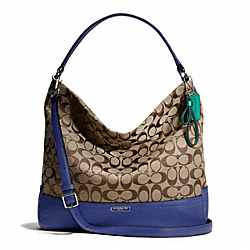 COACH PARK SIGNATURE HOBO - SILVER/KHAKI/FRENCH BLUE - F23279