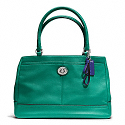 COACH PARK LEATHER CARRYALL - SILVER/BRIGHT JADE - F23280