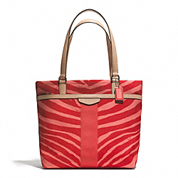 COACH SIGNATURE STRIPE ZEBRA PRINT TOTE - SILVER/HOT ORANGE/TAN - F23283