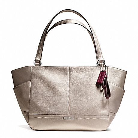 COACH f23284 PARK LEATHER CARRIE TOTE SILVER/PEWTER