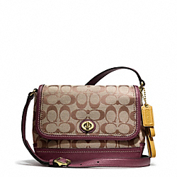 COACH PARK SIGNATURE VIOLET CROSSBODY - BRASS/KHAKI/BURGUNDY - F23286