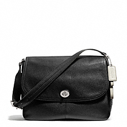 COACH PARK LEATHER FLAP BAG - SILVER/BLACK - F23288