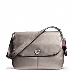 COACH PARK LEATHER FLAP BAG - SILVER/PEWTER - F23288