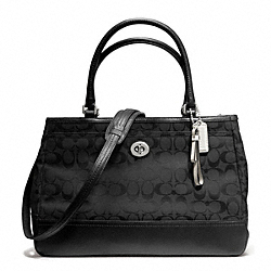 COACH PARK SIGNATURE LARGE CARRYALL - SILVER/BLACK/BLACK - F23292