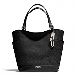 COACH PARK SIGNATURE NORTH/SOUTH TOTE - SILVER/BLACK/BLACK - F23295