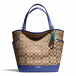 COACH PARK SIGNATURE NORTH/SOUTH TOTE - SILVER/KHAKI/FRENCH BLUE - F23295