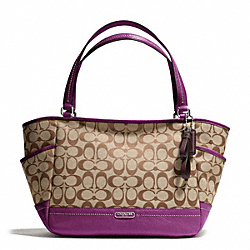 COACH PARK SIGNATURE CARRIE TOTE - SILVER/KHAKI/AMETHYST - F23297