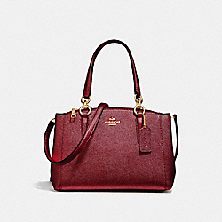 COACH MINI CHRISTIE CARRYALL - LIGHT GOLD/METALLIC CHERRY - F23337