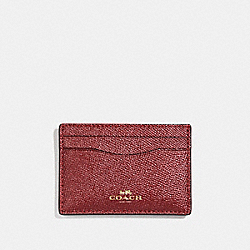 COACH FLAT CARD CASE - LIGHT GOLD/METALLIC CHERRY - F23339